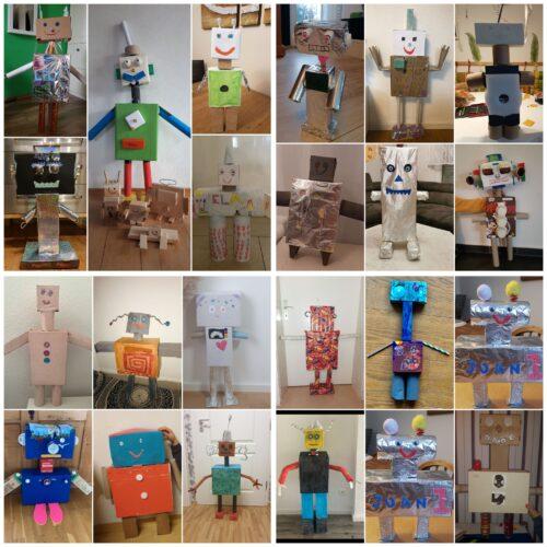 Die 2. Klasse baut zu Hause Roboter aus Verpackungsmüll